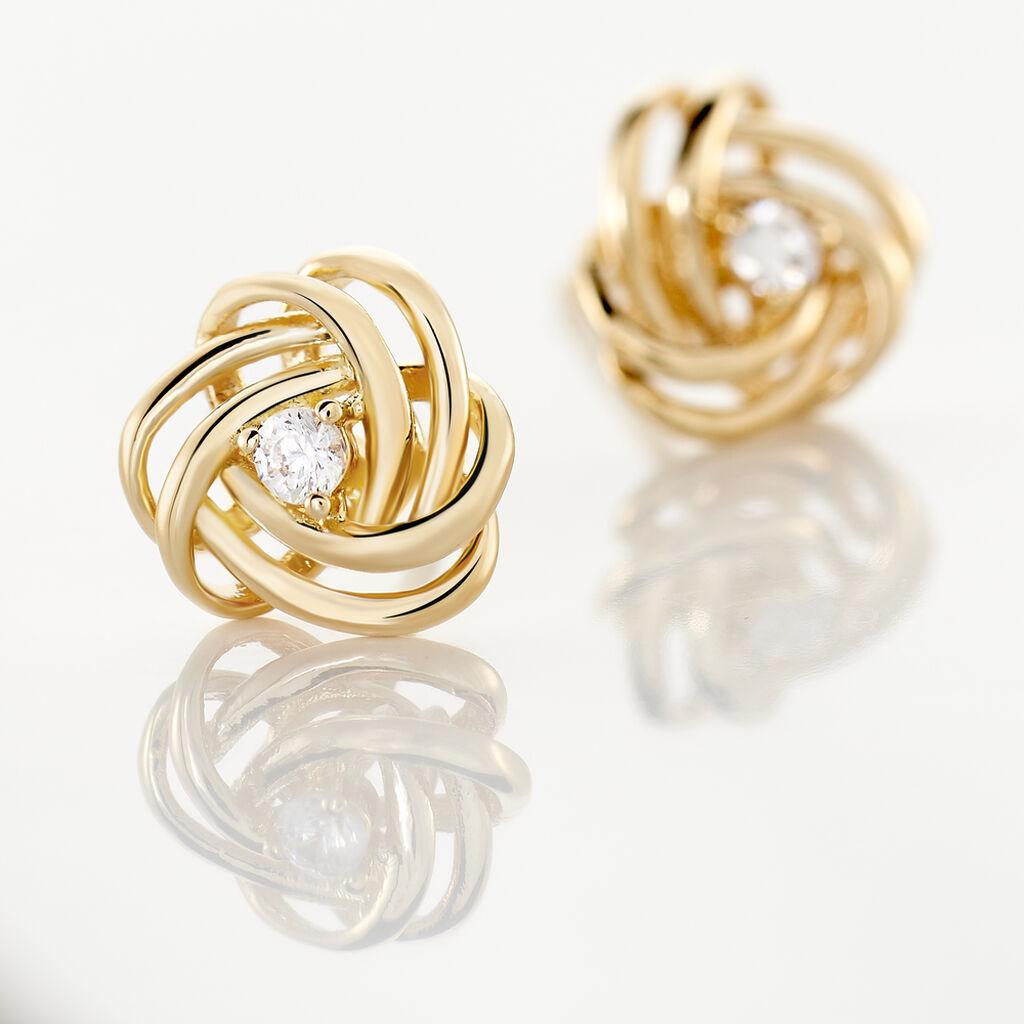 Boucles D'oreilles Puces Iwaki Plaque Or Jaune Oxyde De Zirconium - Boucles d'oreilles fantaisie Femme   Histoire d'Or