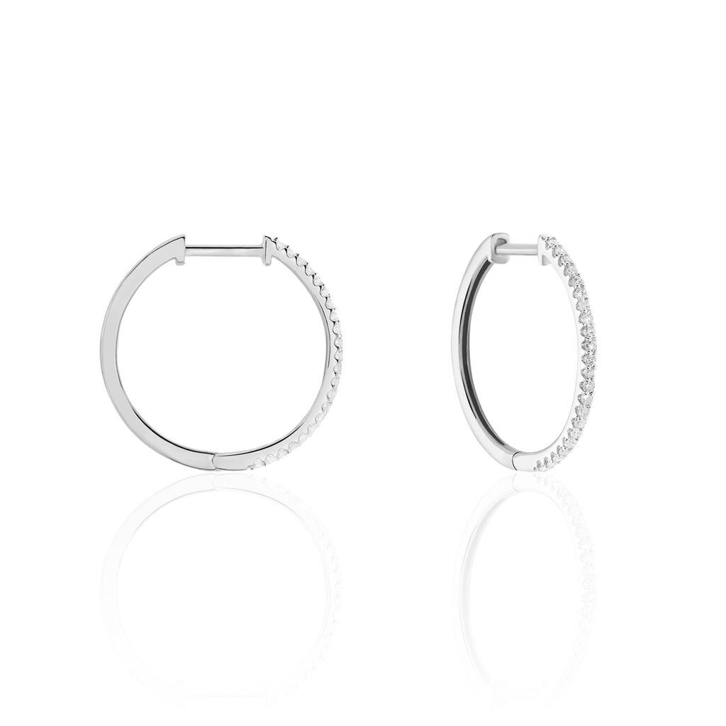 Créoles Aryanna Rondes Or Blanc Diamant - Boucles d'oreilles créoles Femme   Histoire d'Or