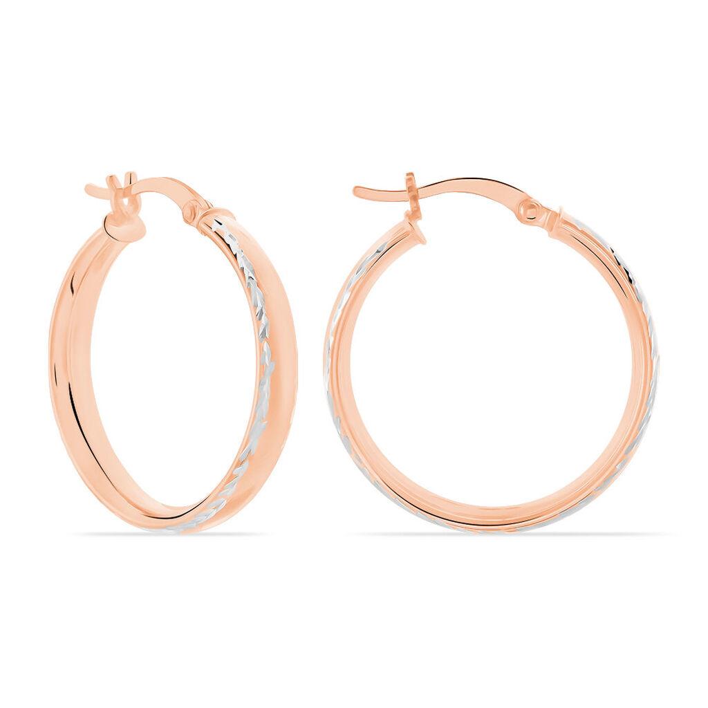 Créoles Ava Bords Diamantés Argent Rose - Boucles d'oreilles créoles Femme   Histoire d'Or