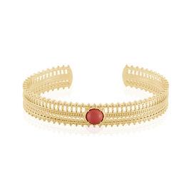 Bracelet Jonc Naim Plaque Or Jaune Pierre De Synthese - Bracelets joncs Femme | Histoire d'Or
