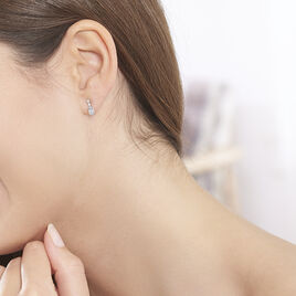 Boucles D'oreilles Pendantes Cyprille Or Blanc Topaze Et Oxyde - Boucles d'oreilles pendantes Femme | Histoire d'Or