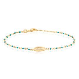 Bracelet Gato Plaque Or Jaune Pierre De Synthese - Bracelets fantaisie Femme   Histoire d'Or