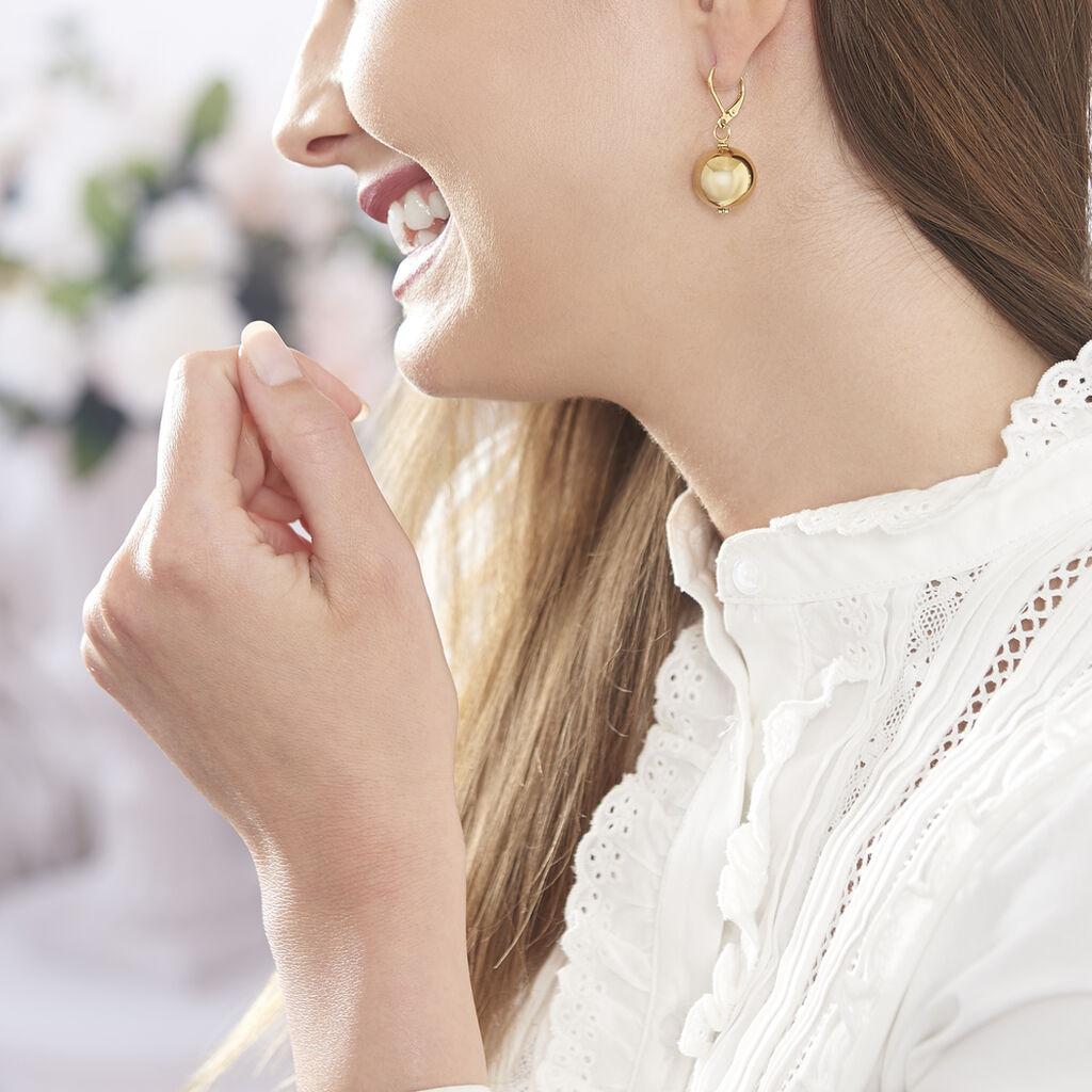 Boucles D'oreilles Pendantes Bilou Acier Jaune - Boucles d'oreilles fantaisie Femme | Histoire d'Or
