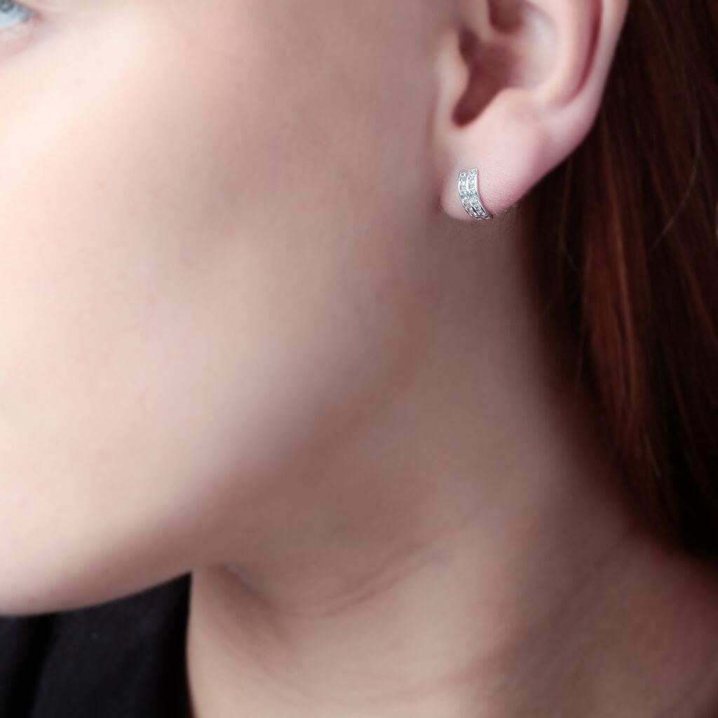 Créoles Jacobee Rondes Or Blanc Oxyde De Zirconium - Boucles d'oreilles créoles Femme | Histoire d'Or