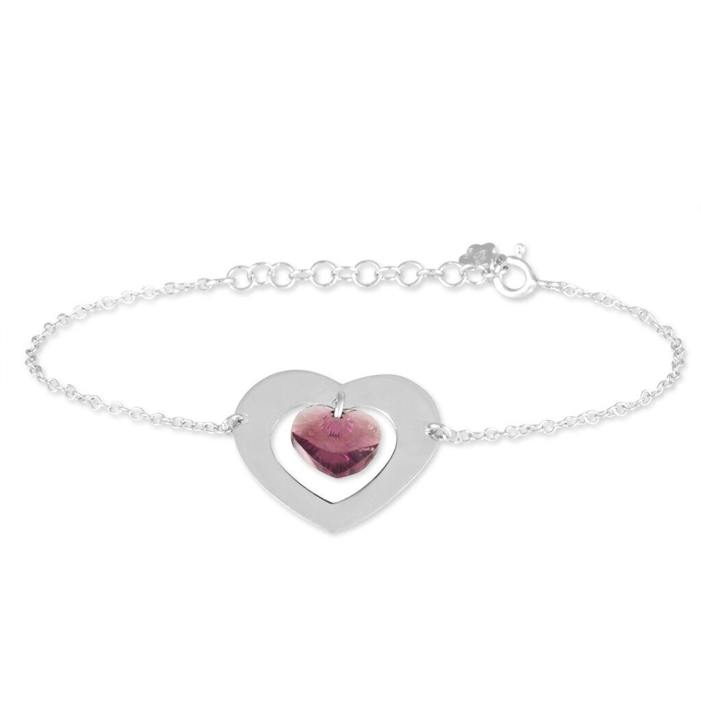 Bracelet Argent Blanc Amethyste - Bracelets Coeur Femme | Histoire d'Or