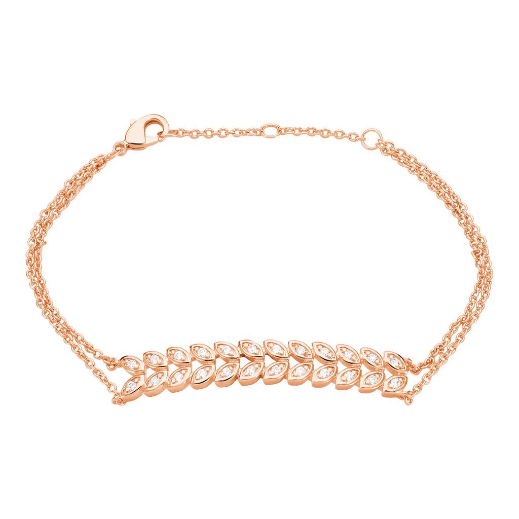 Bracelet Plaque Or Rose Ophelie - Bracelets Plume Femme   Histoire d'Or