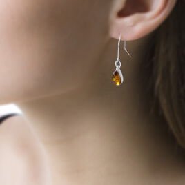 Boucles D'oreilles Pendantes Alanna Argent Blanc Ambre - Boucles d'oreilles fantaisie Femme | Histoire d'Or