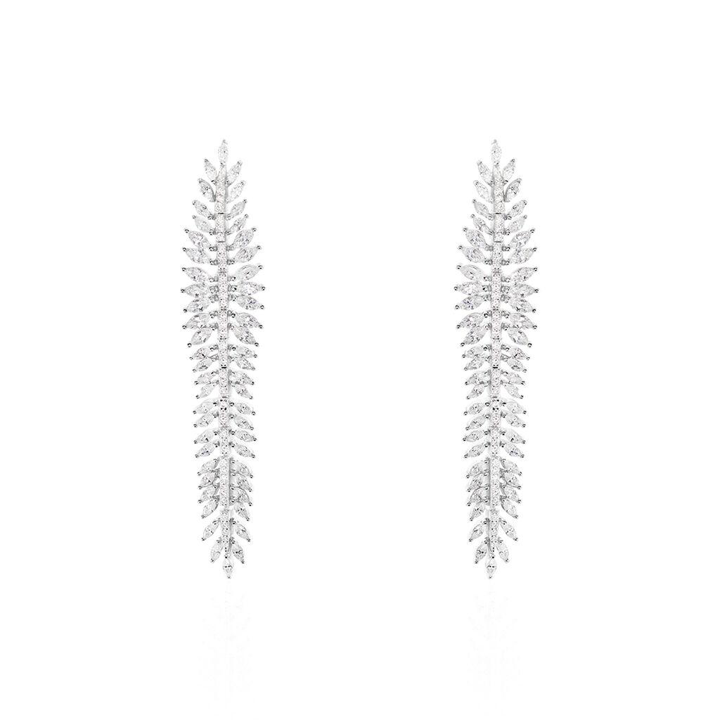 Boucles D'oreilles Pendantes Laetizia Party Argent Oxyde De Zirconium - Boucles d'Oreilles Plume Femme   Histoire d'Or