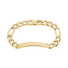 Bracelet Identité Bixente Maille Alternee 1/3 Plaque Or Jaune - Gourmettes Homme | Histoire d'Or