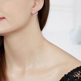 Bijoux D'oreilles Kyoto Or Blanc Oxyde De Zirconium - Ear cuffs Femme   Histoire d'Or