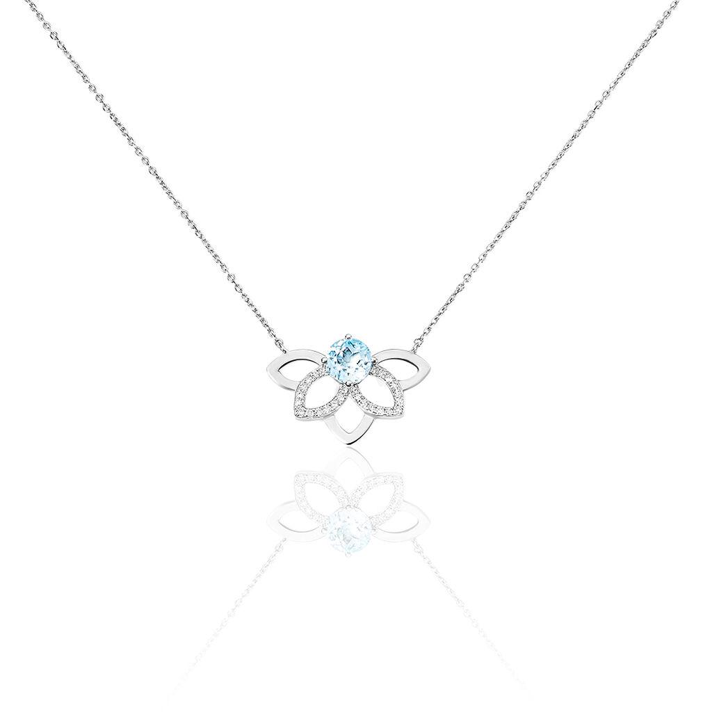 Collier Chesna Or Blanc Topaze Et Diamant - Bijoux Femme | Histoire d'Or