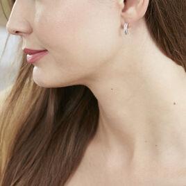 Créoles Sophie Rondes Argent Blanc Oxyde De Zirconium - Boucles d'oreilles créoles Femme   Histoire d'Or