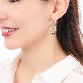 Créoles Aivy Rondes Acier Blanc Strass - Boucles d'oreilles créoles Femme | Histoire d'Or