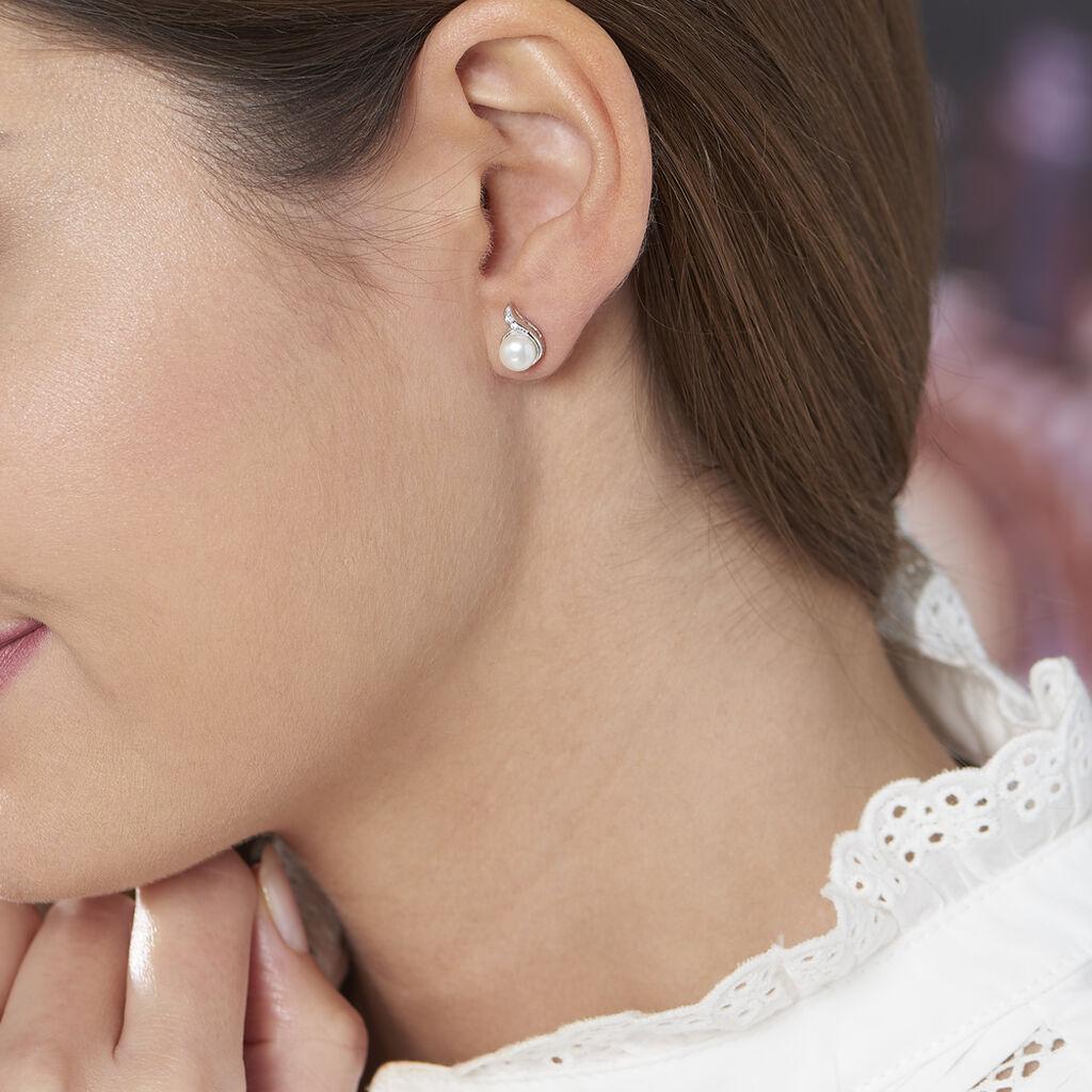 Boucles D'oreilles Puces Mellie Argent Blanc Perle De Culture - Boucles d'oreilles fantaisie Femme | Histoire d'Or