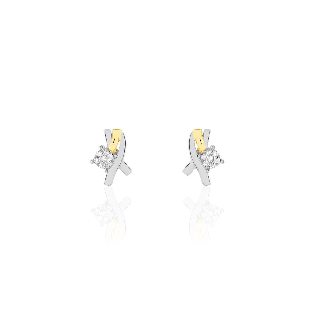 Boucles D'oreilles Puces Catena Or Bicolore Diamant - Clous d'oreilles Femme | Histoire d'Or