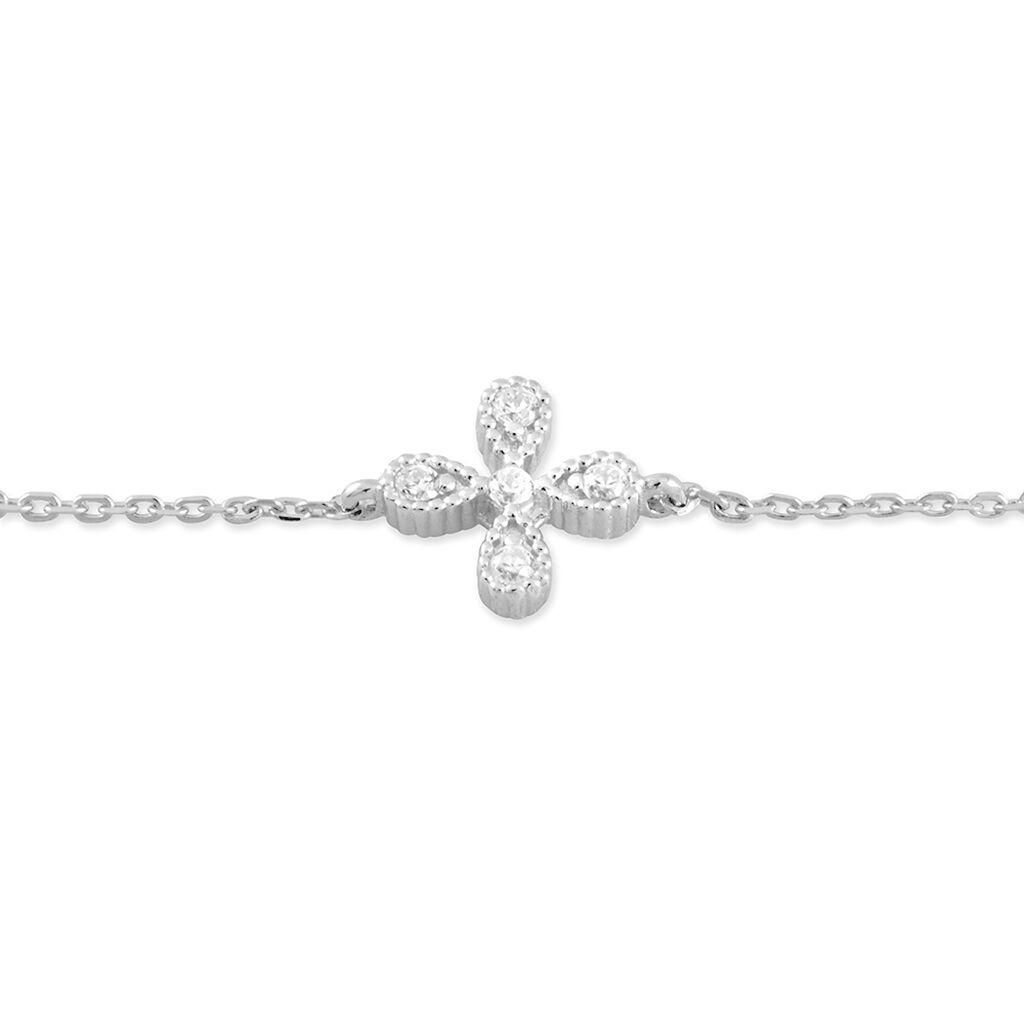 Bracelet Nostra Argent Blanc Oxyde De Zirconium - Bracelets Trèfle Femme | Histoire d'Or