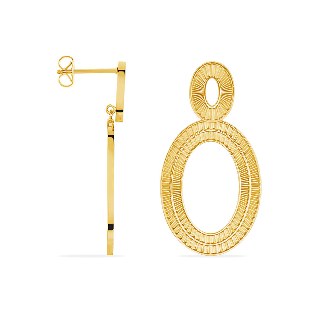 Boucles D'oreilles Pendantes Agostino Acier Jaune - Boucles d'oreilles fantaisie Femme   Histoire d'Or