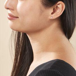 Boucles D'oreilles Puces Daria Or Blanc Oxyde De Zirconium - Clous d'oreilles Femme   Histoire d'Or