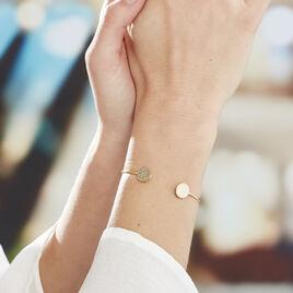 Bracelet Jonc Blanka Plaque Or Jaune - Bracelets fantaisie Femme | Histoire d'Or