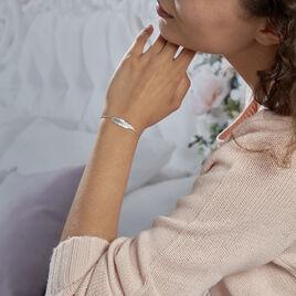 Bracelet Violka Argent Blanc - Bracelets Plume Femme   Histoire d'Or
