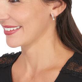 Boucles D'oreilles Pendantes Alie Or Rose Oxyde De Zirconium - Boucles d'Oreilles Coeur Femme | Histoire d'Or