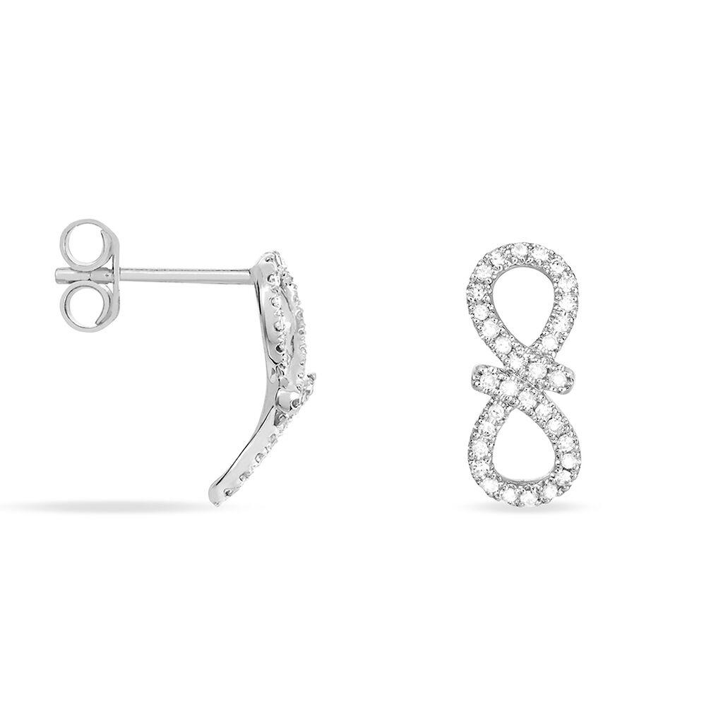 Boucles D'oreilles Puces Solea Or Blanc Diamant - Boucles d'Oreilles Infini Femme | Histoire d'Or