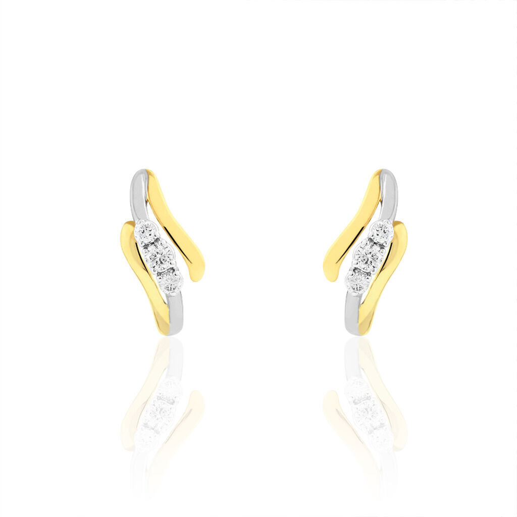 Boucles D'oreilles Pendantes Mayline Or Bicolore Diamant - Boucles d'oreilles pendantes Femme | Histoire d'Or