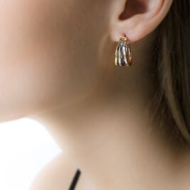 Créoles Iba Fils Carres Or Tricolore - Boucles d'oreilles créoles Femme | Histoire d'Or