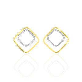 Boucles D'oreilles Pendantes Artahe Carree Or Bicolore - Boucles d'oreilles pendantes Femme   Histoire d'Or