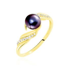 Bague Or Jaune Perle De Culture Et Oxyde De Zirconium - Bagues avec pierre Femme | Histoire d'Or
