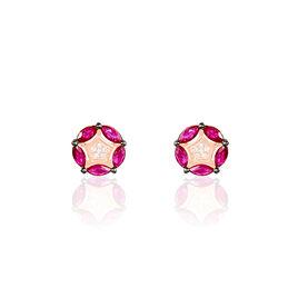 Boucles D'oreilles Puces Milana Or Rose Rubis Et Diamant - Boucles d'Oreilles Etoile Femme | Histoire d'Or