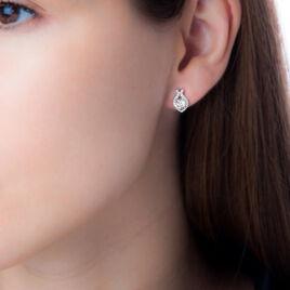 Boucles D'oreilles Pendantes Mohea Argent Blanc Oxyde De Zirconium - Boucles d'oreilles fantaisie Femme   Histoire d'Or