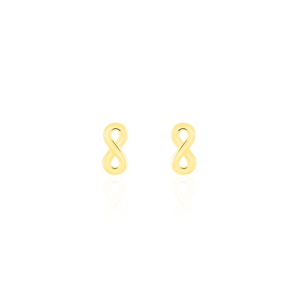 Boucles D'oreilles Puces Annie-francoise Infini Or Jaune - Boucles d'Oreilles Infini Femme   Histoire d'Or