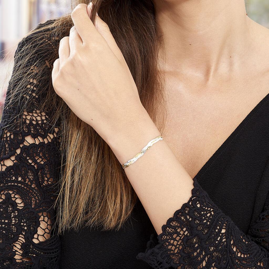 Bracelet Elae Maille Tresse Argent Bicolore - Bracelets chaîne Femme   Histoire d'Or