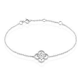 Bracelet Laetizia Fleur Argent Blanc Oxyde De Zirconium - Bracelets fantaisie Femme   Histoire d'Or