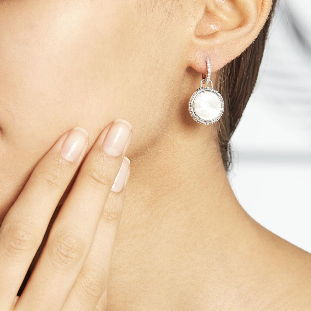 Boucles D'oreilles Pendantes Laetizia Celine Argent Blanc Nacre - Boucles d'oreilles fantaisie Femme   Histoire d'Or