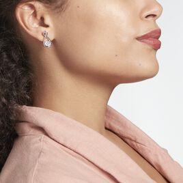 Boucles D'oreilles Pendantes Euphorbe Argent Rhodié Oxydes - Boucles d'Oreilles Infini Femme   Histoire d'Or