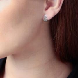 Boucles D'oreilles Puces Roma Argent Blanc Oxyde De Zirconium - Boucles d'Oreilles Coeur Femme | Histoire d'Or