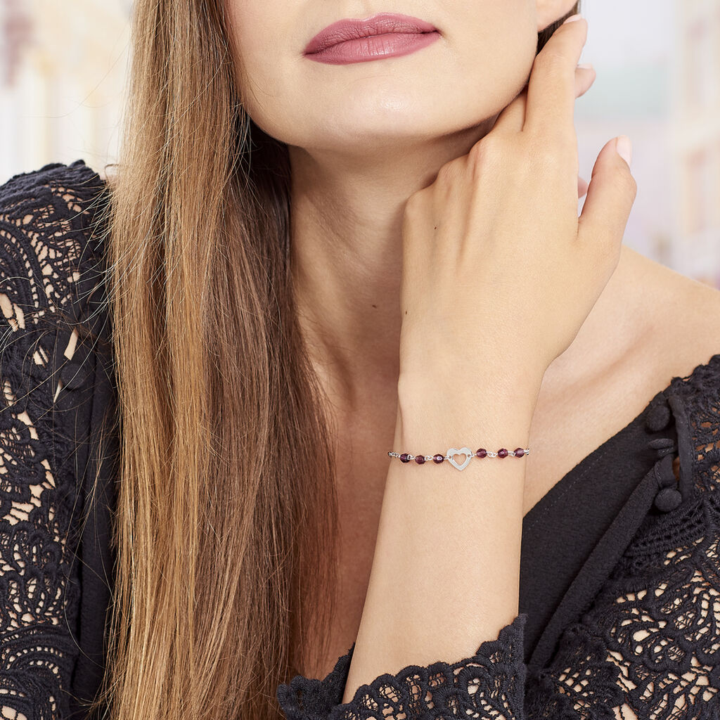 Bracelet Hazan Argent Blanc Pierre De Synthese - Bracelets Coeur Femme | Histoire d'Or