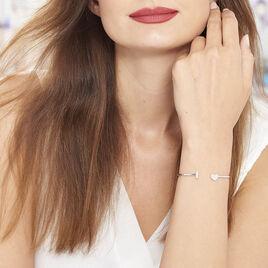Bracelet Jonc Tiama Argent Blanc Oxyde De Zirconium - Bracelets fantaisie Femme   Histoire d'Or
