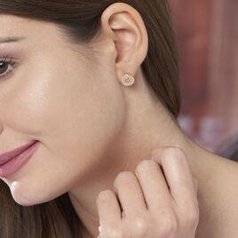 Boucles D'oreilles Puces Carmina Plaque Or Jaune Oxyde De Zirconium - Boucles d'oreilles fantaisie Femme | Histoire d'Or
