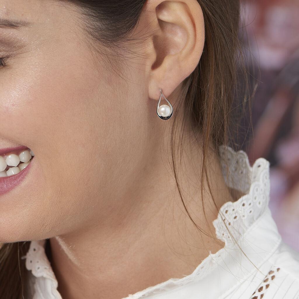 Boucles D'oreilles Pendantes Loren Argent Blanc Perle De Culture - Boucles d'oreilles fantaisie Femme   Histoire d'Or