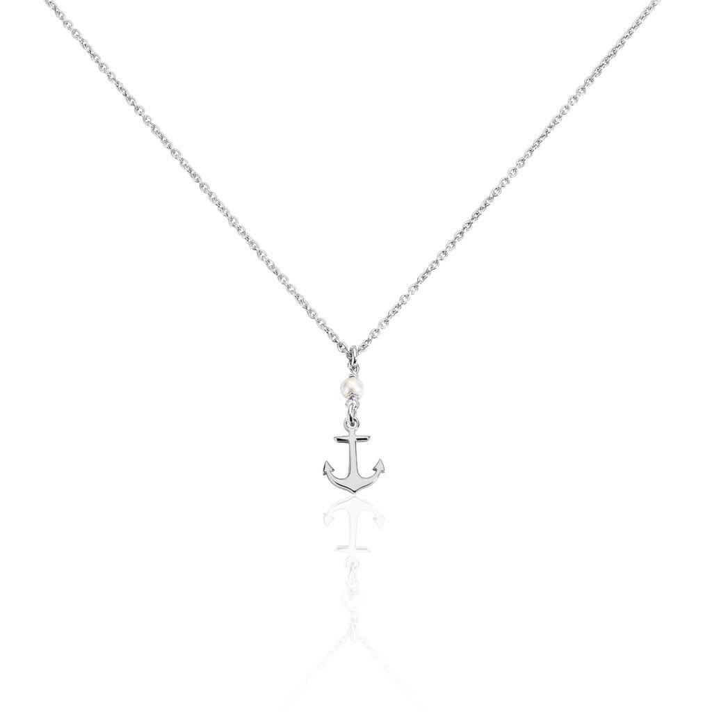 Collier Gwenaelle Argent Blanc Perle D'imitation - Bijoux Ancre Femme | Histoire d'Or