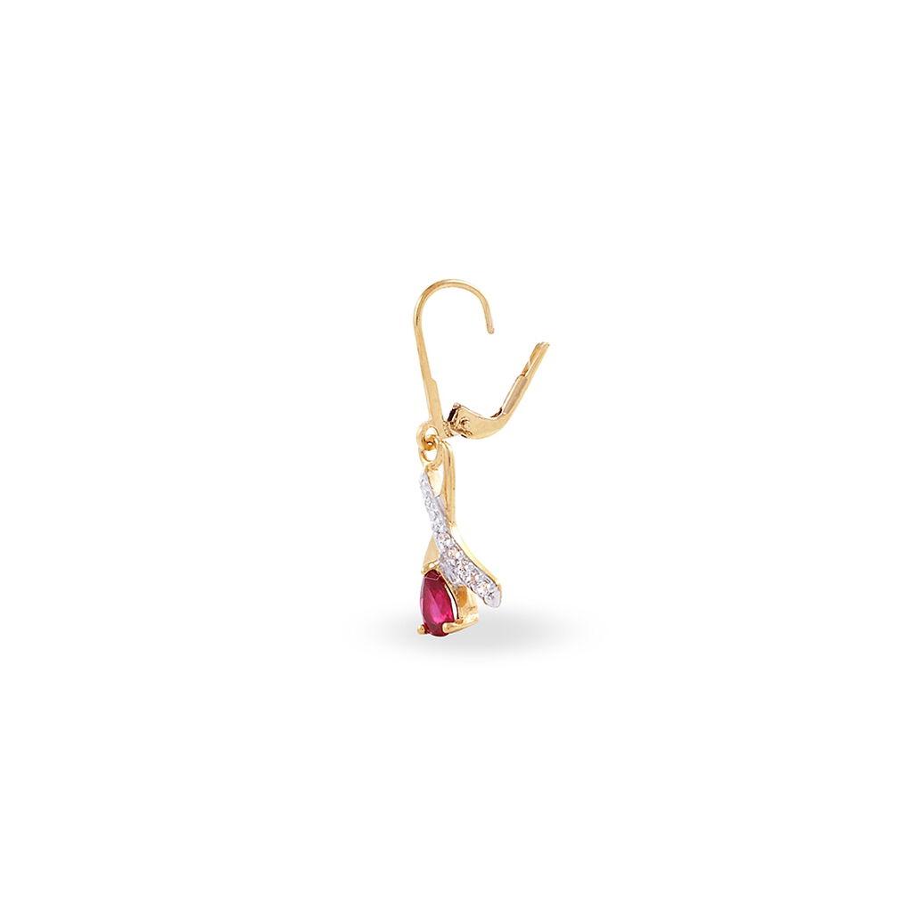 Boucles D'oreilles Pendantes Dyanah Plaque Or Jaune Oxyde De Zirconium - Boucles d'oreilles fantaisie Femme | Histoire d'Or
