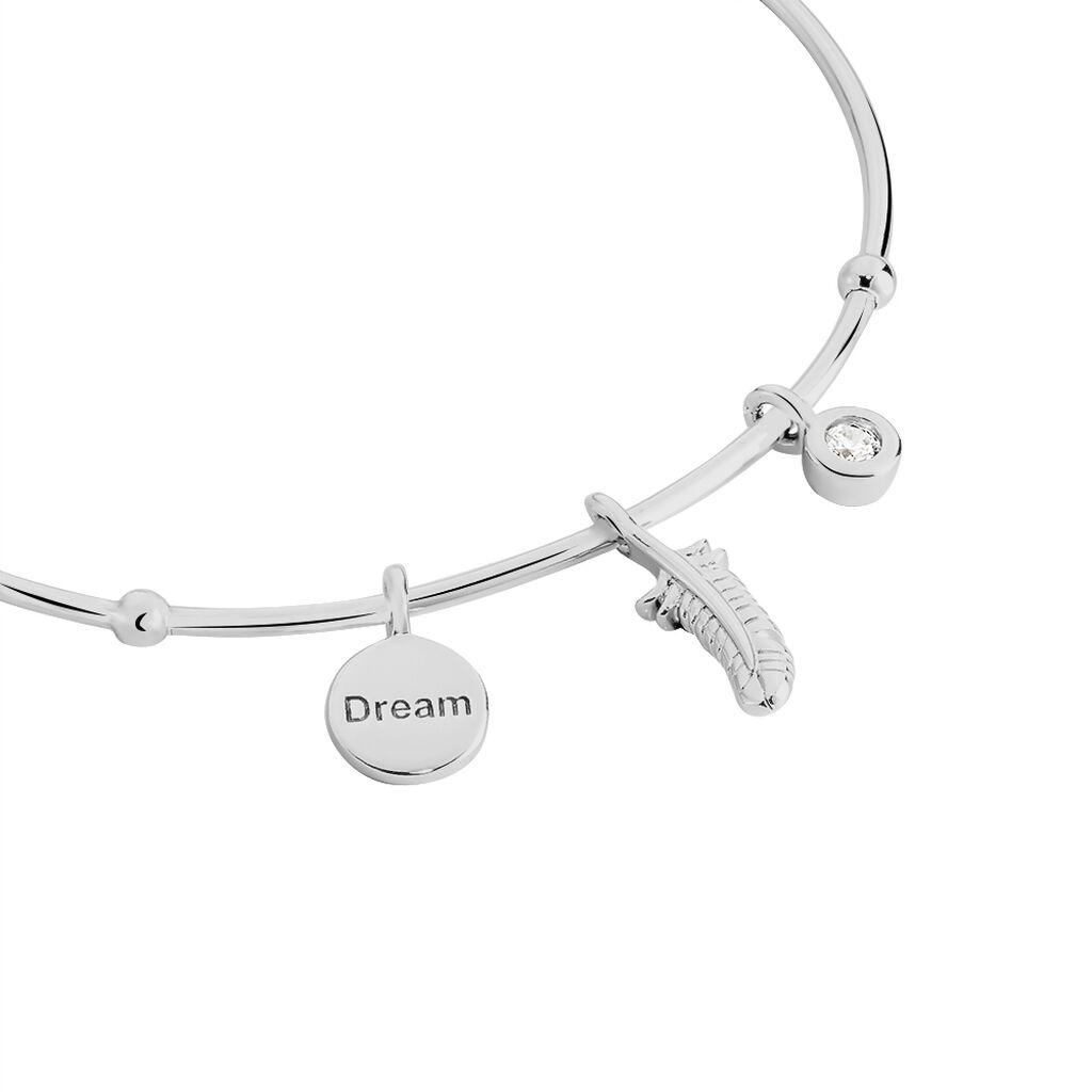 Bracelet Jonc Thalia Argent Blanc Oxyde De Zirconium - Bracelets Plume Femme | Histoire d'Or
