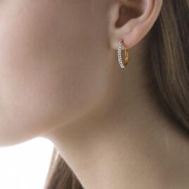 Créoles Sibella Rondes Or Jaune Pierre De Synthese - Boucles d'oreilles créoles Femme | Histoire d'Or