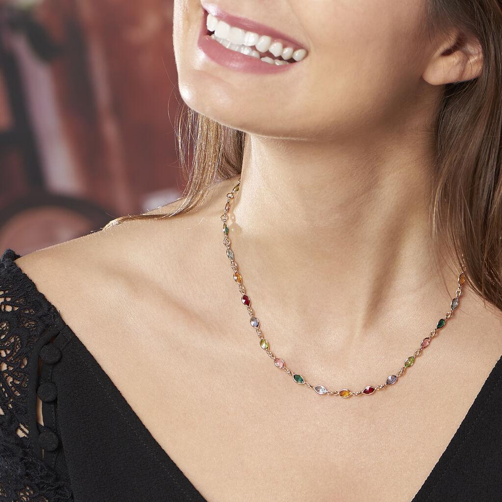 Collier Ilvaae Plaque Or Jaune Pierre De Synthese - Bijoux Femme | Histoire d'Or