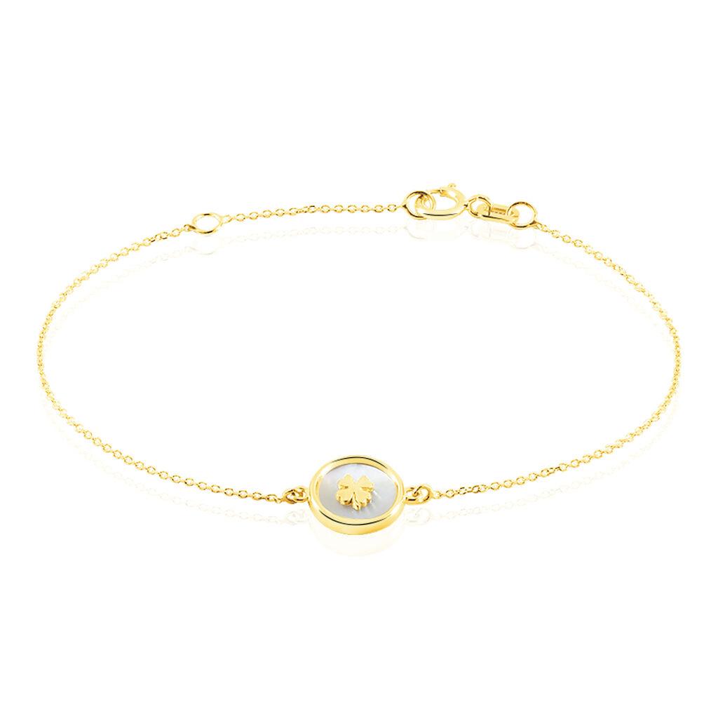 Bracelet Micarla Trefle Or Jaune Nacre - Bracelets Naissance Enfant | Histoire d'Or