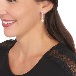 Boucles D'oreilles Pendantes Candia Or Blanc Oxyde De Zirconium - Boucles d'oreilles pendantes Femme | Histoire d'Or
