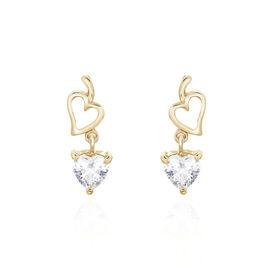 Boucles D'oreilles Pendantes Rodaina Plaque Or Oxyde De Zirconium - Boucles d'Oreilles Coeur Femme | Histoire d'Or